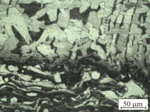 """Микроструктура напыленного покрытия (переходная зона """"основа-покрытие"""")"""