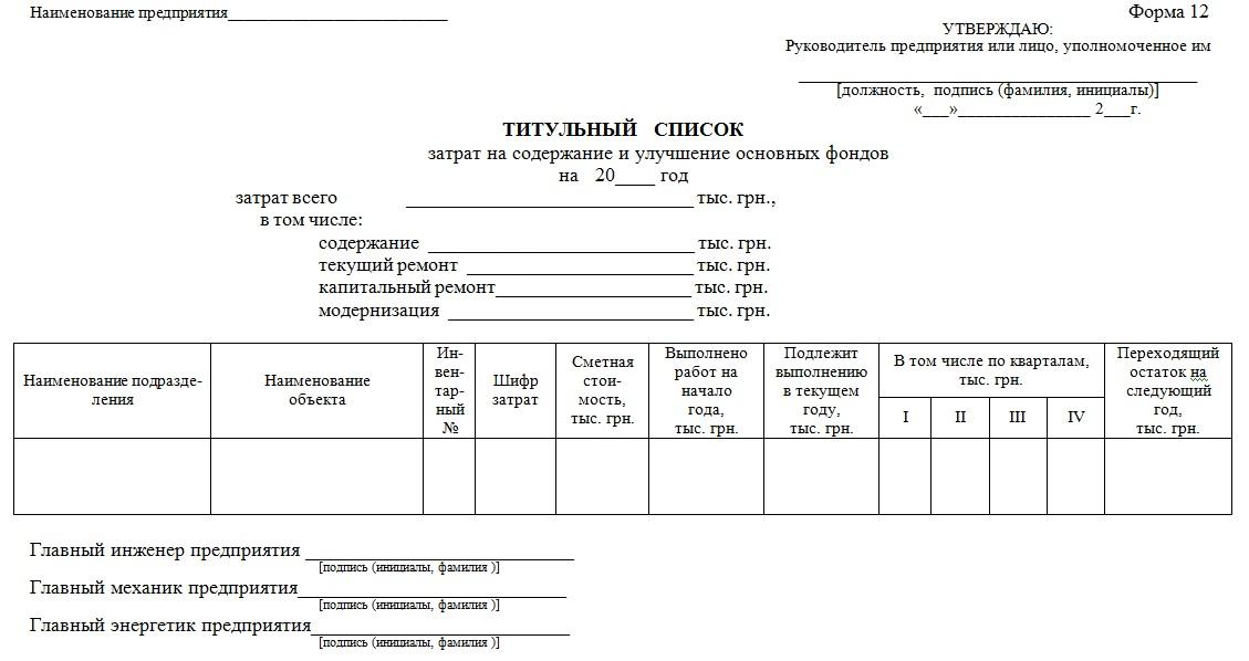 Приложение 14. Форма титульного списка затрат на содержание и улучшение основных фондов