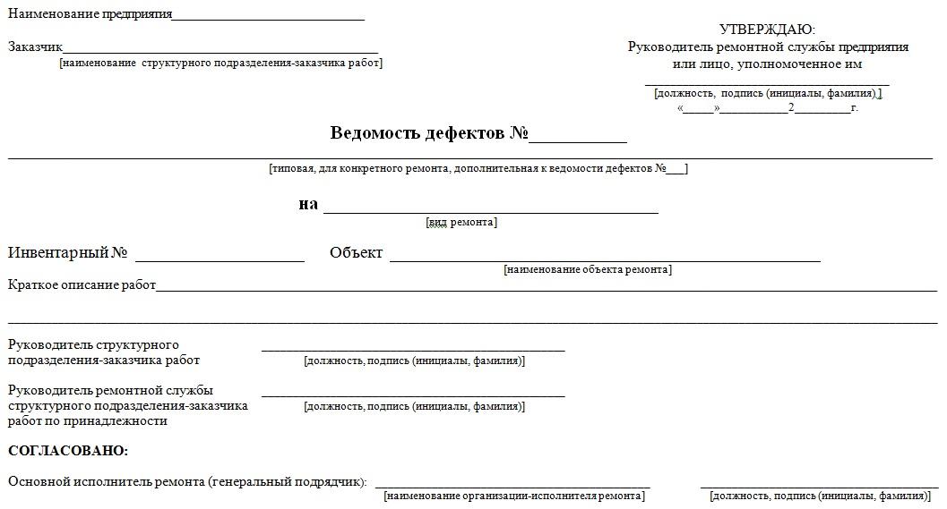 Приложение 9. Формы страниц ведомости дефектов