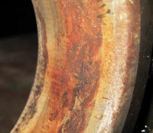 Следы фреттинг-коррозии на посадочной поверхности наружного кольца шарикоподшипника