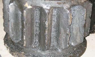 Предельная стадия абразивного износа кремальерной шестерни