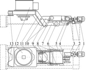 Общий вид кристаллизатора и стола качания с электромеханическим приводом