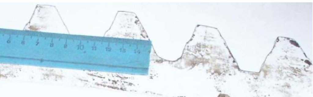Отпечаток боковой поверхности венца барабана