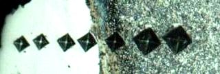 Поперечный шлиф образца с нанесенными наколами